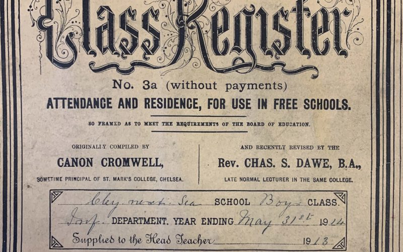 Cley School Infant Boys Class Register end-May 1914